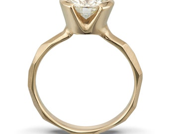 Partial Bezel Moissanite Engagement Ring: White, Yellow or Rose Gold faceted chiseled band