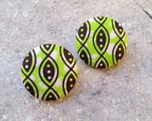 SALE ~~ Kenya ~~ African Ankara Fabric Button Earrings. LARGE. 1 1/2 Inches. Stainless Steel Posts. Tarnish Free. Lead Free. Nickel Free.