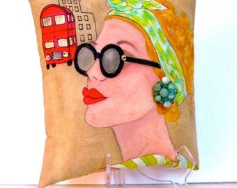 LONDON LADIES EMMA,  hand painted pillow, London, azure, sunglasses, fashionista pillow, gift for woman, London bus, lavender, quote,