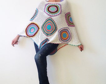 Silky Beige Poncho with Multicolored Circles - MADE TO ORDER