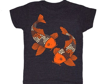 KIDS Koi Fish - T-shirt Boy Girl Toddler Youth Children Tee Shirt Goldfish Japanese Fish Zen Pond Garden Block Print Nature Animal Tshirt