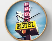 Dude Motel Pop Art Modern Wall Clock, Colorful Home Decor, Vintage Sign, Natural Wood, Black or White Frame Clock