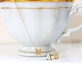Gold Initial Necklace Gold Letter Necklace Personalized Letter Charm 14 KT Gold Fill Fine Chain