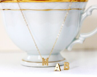 Gold Initial Necklace Tiny Gold Letter Necklace  Name Necklace 14 KT Gold Fill Chain Graduation Gift