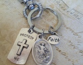Protect Me Key Chain with Holy Medal of Your Choice, Be Still And Know That I Am God, Faith, Travel Protection, Safe Driver