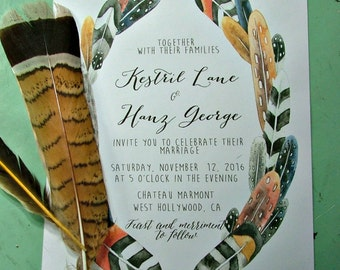 Feather Wedding Invitations: Bohemian invites, outdoor wedding, garden wedding, hippie wedding