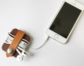 Leather Cord Organizer // Cable Keeper // Coworker Gift // Tech Accessory