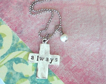 Rustic Cross .. Hand Stamped .. Customize your Faith inspired, antiqued metal charm .. Silver plate . Simple hand-made cross shape pendant