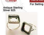 Square 14x14mm Heavy Cast Ring Bezel Cups Setting Antique (Oxidized) Sterling Silver 925 (8866)