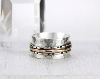 Hammered Silver Spinner Ring with Gold and Silver Bands, Bamboo Texture, Mixed Metal Ring