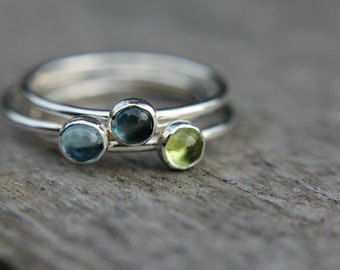 Choose your gemstone - single sterling silver stacking ring - gemstone ring - stackable ring - birthstone ring