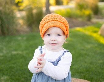 Baby Newsboy Cap 9 to 12 Month Baby Girl Newsboy Hat Baby Boy Newsboy Orange Baby Hat Baby Girl Hat Baby Boy Hat Crochet Newsboy Buckle