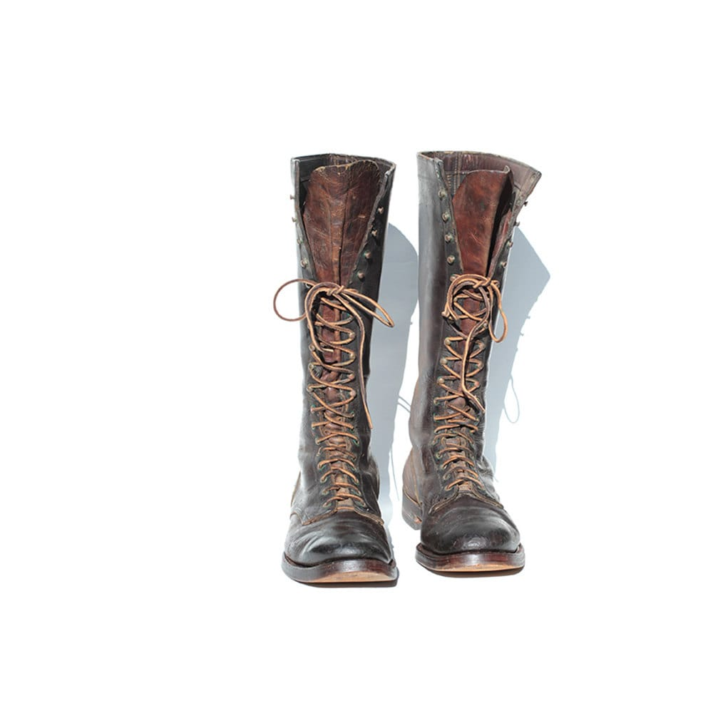 size 10 s distressed brown leather boots by