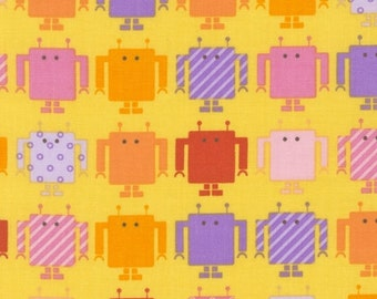 Robots Funbot Yellow Kaufman Fabric 1 yard