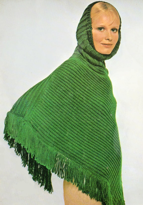 Knitting Pattern Cape With Hood : Hooded Poncho Knit Pattern images