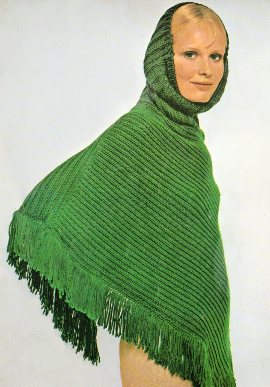 Knitted Baby Poncho Hood Pattern : Knitting Pattern Hooded Poncho Knitting Pattern INSTANT