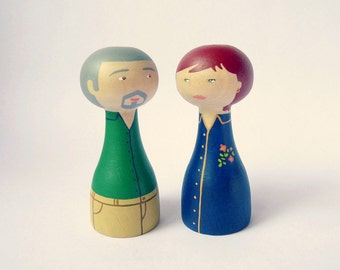 Custom granparents portrait wedding anniversary Personalized Wooden art doll hand painted blue FREE SHIPPING