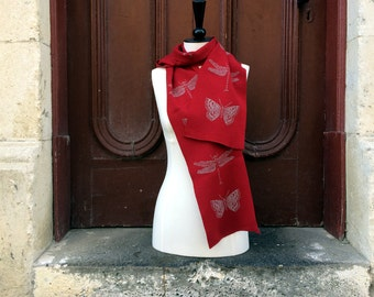 Red dragonfly and butterfly scarf - thick red knit scarf in merino wool, insect print red wool scarf