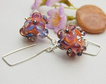 Coral Pink Glass Bead Earrings, Sterling Silver, Floral Earrings, Mauve - VIOLETTE