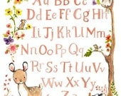 Woodland Nursery Art--DEER ALPHABET--by Kit Chase