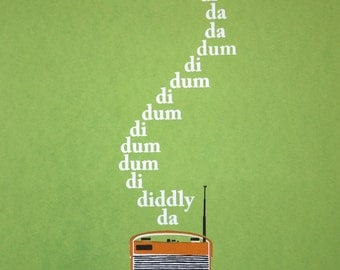 Art Screen Print The Archers BBC Radio 4 Theme Tune Vintage Roberts Typography Dum Di Dum Barwick Green British UK
