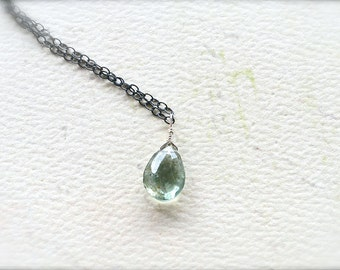 Freckles Petite Necklace - moss aquamarine necklace, oxidized sterling silver, handmade teal aquamarine necklace, march birthstone, OS06