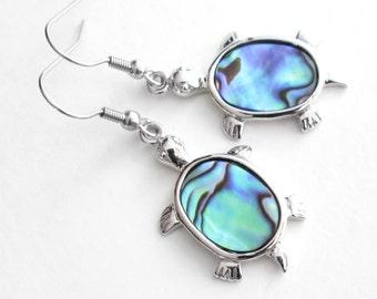 Sea Turtle Earrings; Genuine Abalone Jewelry, Ocean Themed Gift, Beachy Earrings
