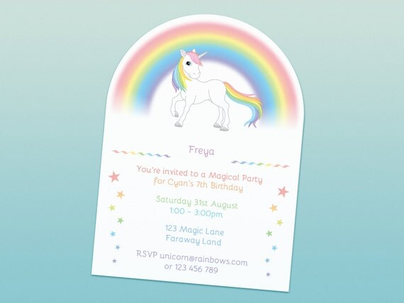 Rainbow Unicorn party invitations printed rainbows and