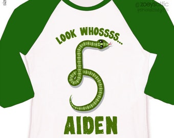 Birthday boy shirt personalized birthday boy snake RAGLAN shirt - great for reptile themed birthday party