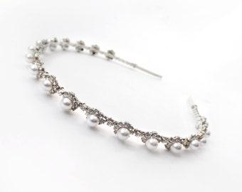 Silver Pearl Bridal Headband with Clear Crystals - Silver Metal Band - Crystal Hairpiece -  Wedding Headband