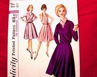 1960s Dress Pattern Size 12 Bust 32 Womens v Neckline Jumper Dress Pattern, Vintage Sewing Pattern UNCUT