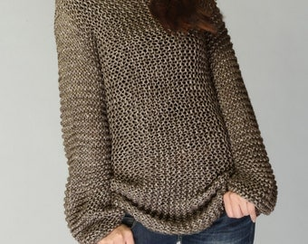 Hand knit sweater - Eco cotton long sweater in Mocha