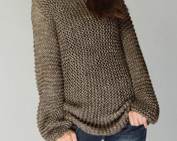 Hand knit woman sweater - Eco cotton long Mocha sweater