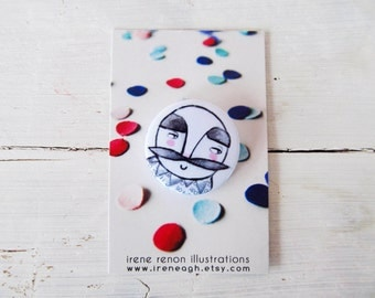 Mustache man pin, minimal button brooch