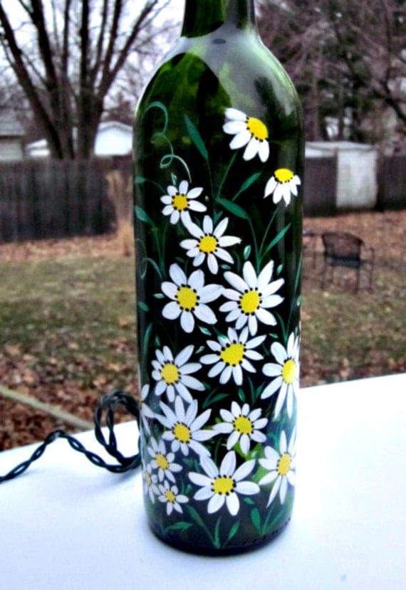 Wine bottle light night light hand painted green wine for Painting flowers on wine bottles