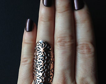 Copper Ring Cuff - Flower Lace Pattern - Etched - Jewelry Ring - handmade from copper in my Studio in Austin, Tx - Jamie Spinello