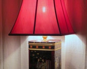 Chinoserie tin table lamp with red silk shade - Now 40% off plus FREE SHIPPING to US