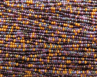 8/0 Antique Bronze Mega Mix Czech Glass Seed Bead Strand (CW66)