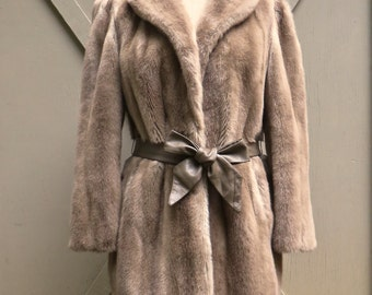 70s vintage Lilli Ann Crème Caramel Faux Fur Coat / Adolph Schuman for Lilli Ann