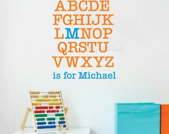 Alphabet with Name Wall Decal - ABC vinyl lettering for wall - kids room alphabet letters wall decor - alphabet wall decal - name wall decal