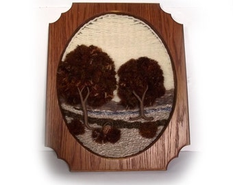 70s Wall Hanging Vintage Textile Art Weaving Tree Lovers Gift