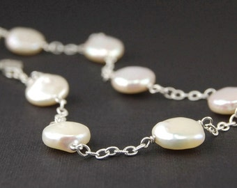 Freshwater pearl bracelet - sterling silver pearl bracelet, June birthstone, bridal jewelry