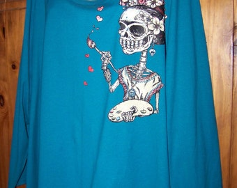 Plus size Women's 5X, Plus Size Day of the Dead, True to Size 5X, Katrina, Frita, Day of the Dead, Painter, Artist, Plus Size Women Clothes