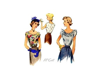 1940s Blouse Pattern, Vintage McCall 7672, Bateau Neckline, Cap Sleeves, Ruffles, Bust 32, Peasant Blouse, 40s Womens Sewing Pattern