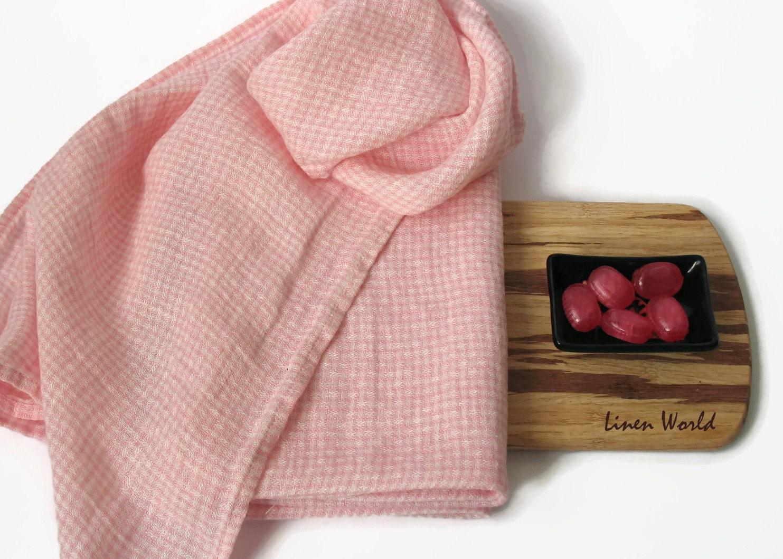 100 linen tea towel plaid pink pure linen kitchen towel. Black Bedroom Furniture Sets. Home Design Ideas