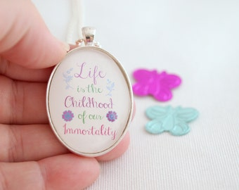 immortality quote necklace, inspirational quote jewelry, Goethe, quotes about life, typography necklace