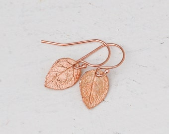 Rose Gold Leaf Earrings Tiny Rustic Pink Gold Rustic 24K Gold Woodland Forest Whimsical Twig
