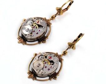 Steampunk Vintage Watch Movement Brass Bezel Earrings