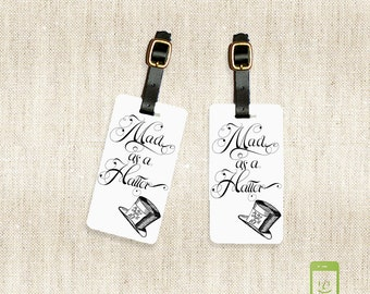 Personalized Luggage Tag Set Mad As A Hatter Alice Adventures in Wonderland  Full Metal Tags Luggage Tag Set Personalized