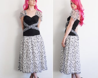 one million in one cocktail dress . sheer black white polka dot wrap .small .sale